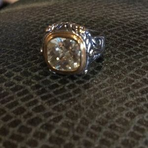 Jewelry - Silvertone ring with a clear CZ Centerstone